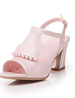 Women's Sandals Spring Summer Fall Leatherette Casual Chunky Heel Imitation Pearl Buckle White Blue Blushing Pink