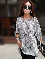 2015  New Korean woman  personality pattern printing waist  round O-neck seven quarter sleeve t-shirt