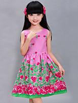 Girl's Cotton Dress , Summer/Spring/Fall Sleeveless