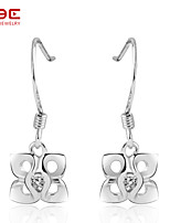 NBE Sterling Silver/Zircon Earring Drop Earrings/Hoop Earrings Wedding/Party/Daily/Casual 1pair