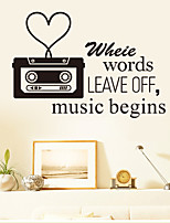 Wall Stickers Wall Decals Style Music Begins English Words & Quotes PVC Wall Stickers