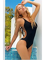 Sexy Fashion Women's One Piece Swimwear String Bikini Bandage Strappy Swimsuit Black Bathing Suit Padded 754