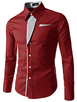 Men's Casual Pure Long Sleeve Regular Shirts