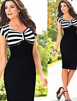 Monta Women's Vintage/Sexy/Party V-Neck Short Sleeve Dresses (Cotton Blend)