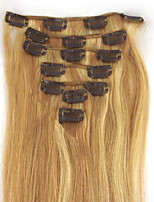 7Pcs 70g 100% Real Full Head Remy Human Hair Clip In Extensions #18/613 Honey Blonde with Bleach Blonde Silky Soft