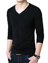 Men's Long Sleeve T-Shirt , Cotton Blend Casual / Work / Formal / Sport / Plus Sizes Pure