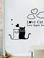 Wall Stickers Wall Decals Style Love Cat English Words & Quotes PVC Wall Stickers