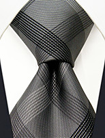 SXL1 Classic Dress Men's Neckties Gray Checked 100% Silk Business Handmade New