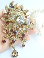 Women Accessories Gold-tone Topaz Rhinestone Crystal Flower Brooch Art Deco Brooch Bouquet Women Jewelry