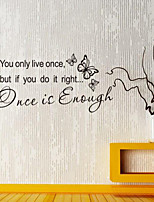 Wall Stickers Wall Decals Style Once is Enough English Words & Quotes PVC Wall Stickers