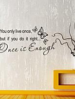 pegatinas de pared de las etiquetas una vez es suficiente palabras inglesas&cita pegatinas de pared del pvc