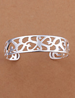 Euramerican Fashion  Round Shaped Silver Plating Opening Adjustable Kelp Silver Plated Bracelet(Silver)(1Pc)