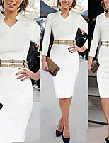 Monta Women's Vintage/Sexy/Party V-Neck Long Sleeve Dresses (Cotton Blend)
