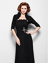 Women's Wrap Shrugs Half-Sleeve Chiffon Black Wedding / Party/Evening Scoop Ruffles Open Front