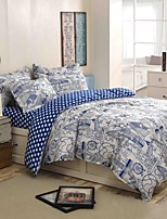 Blue Bedding Set of 4pcs Queen/Twin Set Design Of Travel The World