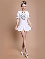 Women's Vintage Casual Print Cute Micro-elastic Short Sleeve Long T-shirt (Cotton Microfiber)