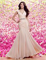 Lan Ting Sheath/Column V-neck Sweep/Brush Train Wedding Dress (Chiffon)