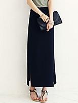Women's Sexy Casual Maxi Micro-elastic Medium Maxi Skirts (Cotton)