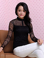 Women's Solid White/Black Blouse , Casual Stand Long Sleeve Lace
