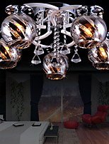 Crystal LED Flush Mount, 5 Lights , Modern Fashion Creative  Stainless Steel Glass