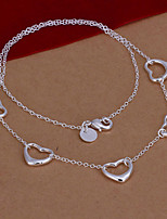 Fashion Five Hearts Shape Silver Plated Silver Pendant Necklace(White)(1Pc)