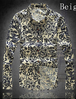Men's Casual/Work/Formal/Plus Sizes Print Colorful Long Sleeve Regular Shirt (Cotton)