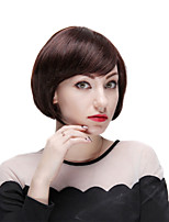 Mono Top 100% Human Hair Short Straight Bobo Wig with Side Bangs