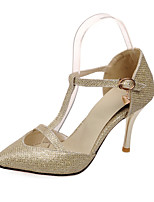 Women's Shoes Glitter Stiletto Heel Gladiator Pumps/Heels Office & Career/Dress/Casual Brown/Silver/Gold