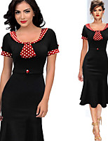 Monta Women's Vintage/Sexy/Party Round Short Sleeve Dresses (Cotton Blend/Polyester)
