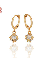 KuNiu Women's Casual Gold Plated Square Crystal Luxury Sparkling Big Drop Earrings ER0056