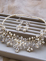 Fashion Silver Color With White Pearl And Crystal Necklace And Earring Set(Set of 2) D0381AD