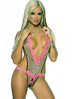 Women Sexy Lingerie Teddy Leopard Bottom Open Pink Fringe 2071