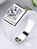 1CT Male Ring Smooth Setting Engagement Solid Silver Jewelry SONA Simulate Diamond Ring for Male 18K White Gold Plated