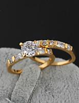 KuNiu Women's High Quality Classic 18K Gold Plated Cubic Zircon couple Rings J0034AB