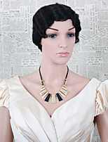 Capless Short Curly Human Hair Wig Color Black