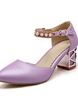 Women's Shoes Chunky Heel Pointed Toe Pumps/Heels Outdoor/Office & Career/Dress Black/Purple/White