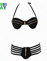 ZAY Women's Sexy  Classical Black Halter Zipper Bikinis Swimming Set