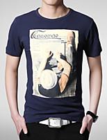 Tee-Shirt Décontracté/Sport Pour des hommes Manches Courtes A Motifs/Couleur plaine Coton