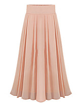 Women's Beach Casual Cute Inelastic Thin Maxi Skirts (Chiffon)