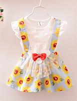 Girl's Short Sleeve Sunflowers Print  Lace Bow Dress