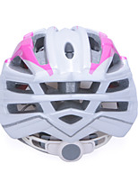 High-Breathability PC+EPS Black Bicycle Helmet With Detachable Sunvisor (17 Vents) - Rose  Red + Silver