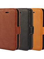 Для Кейс для iPhone 5 Кошелек / Бумажник для карт / со стендом / Флип Кейс для Чехол Кейс для Один цвет Твердый Искусственная кожаiPhone