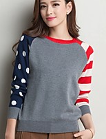 Women's Polka Dot Blue/Red/White/Beige/Gray Pullover , Casual Long Sleeve