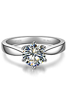 1CT Solitaire SONA Diamond Ring for Women Engagement Prongs Setting Brand Jewelry S925 Sterling Silver Female Bridal