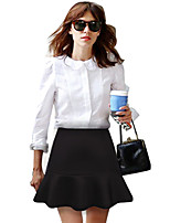 Women's Casual Party Work Micro-elastic Medium Above Knee Skirts (Cotton Knitwear)