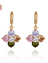KuNiu Women's Classic 18K Gold Plated Romantic Flower Crystal Earrings ER0178