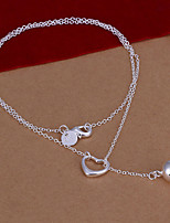 Sweet Heart And Ball Shape Pendant Silver Plated Ball Chain Rolo Necklace(White)(1Pc)