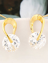 Women's Korean Fashion Sweet Shine Rhinestone Simple Earrings