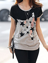 Women's Geometric Silver T-shirt , Casual Round Neck Short Sleeve