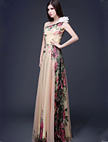 Dress A-line One Shoulder Floor-length Chiffon Dress